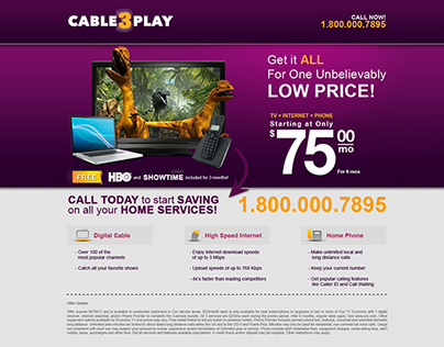 PPC landing page Cable3Play