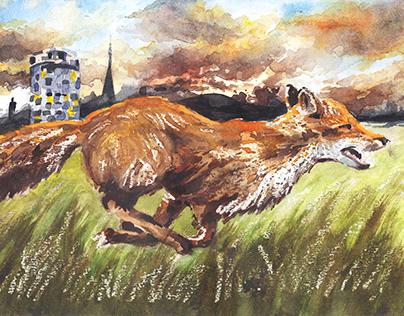 Run - Birmingham City Skyline Fox Watercolour