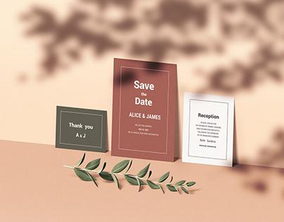 Wedding Invitation Set Mockup
