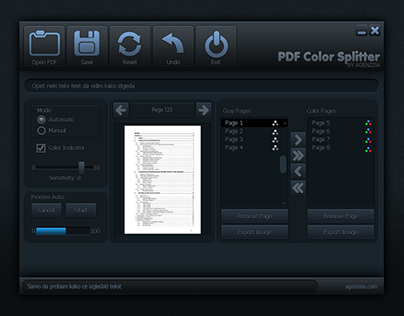 Agenzzia PDF Color Splitter GUI Design Project