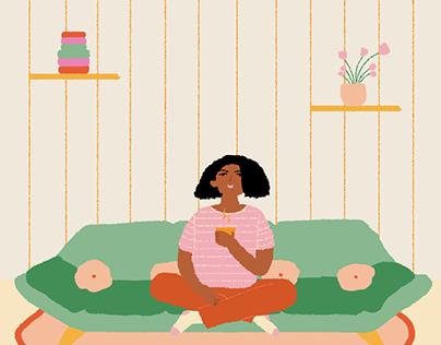 WOMAN, ARMCHAIR & A TEA ⋆ Illustration, process
