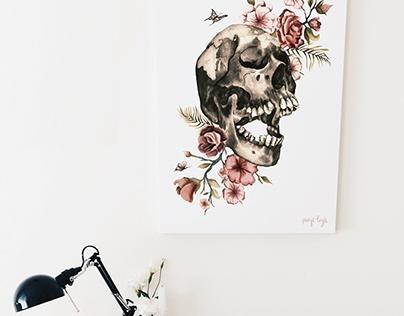 Flower Skull Illustration