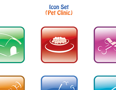 Pet Clinic Icon Set Design