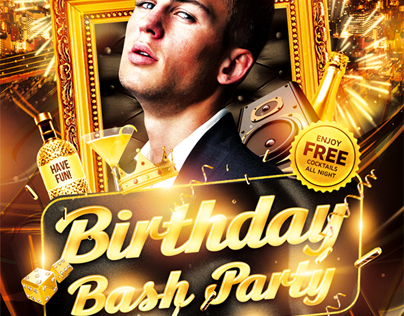 birthday bash party flyer psd template on behance