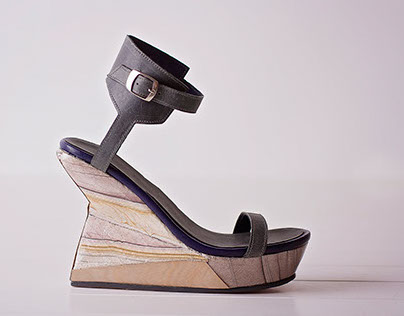 Faceted Cork Wedges with Leather Upper