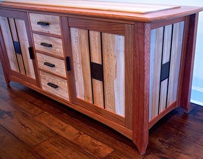 Audio Cabinet/Sideboard In Santos Mahogany & Sycamore