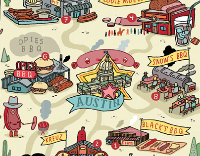 """""""BBQ land"""" for American Airlines Magazine"""