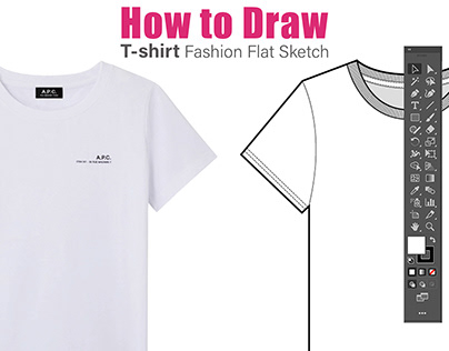 How to Draw T-shirt Fashion Flat Drawing on Illustrator