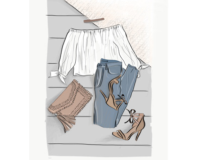 Fashion sketch - clothes flatlay