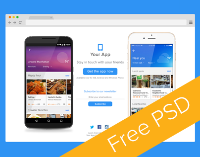 Mobile App Landing Page Free PSD