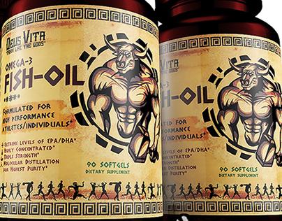 Omega 3 Fish Oil Label Design