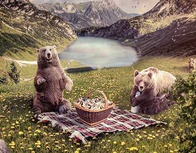Bears Family in picnic
