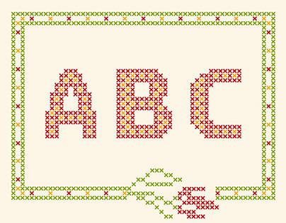 Cross-stitched ALPHABET
