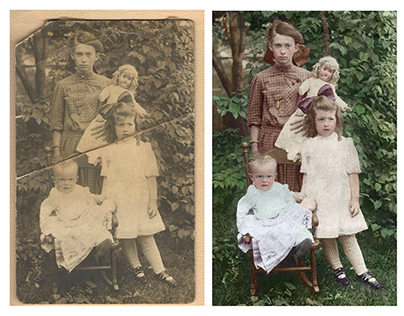 Restoration and colorisation of a creased  photograph