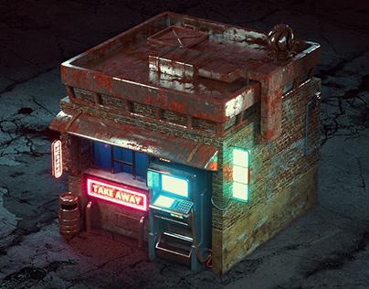 Cyberpunk take away shop