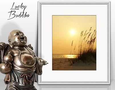 8x10 Portrait White Frame & Lucky Buddha