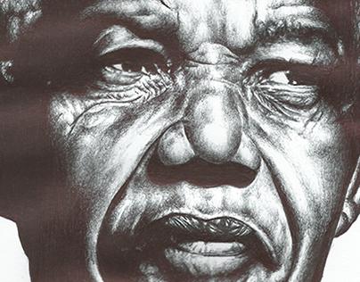 bic biro drawing of Nelson Mandela