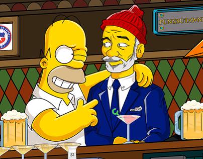 Homer, Bill Murray and a Penguin