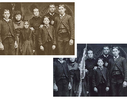 Restoration and colorisation of a torn group photograph