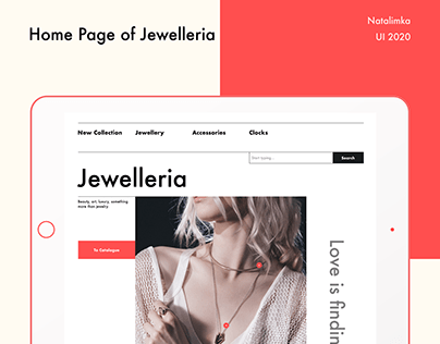 Main page for the jewellery website