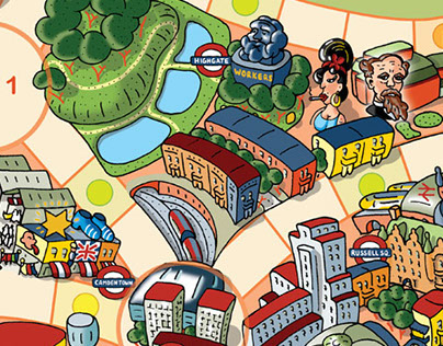 Illustration of a London board game