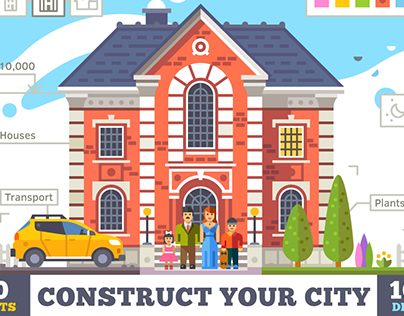 Construct your city, flat vector KIT