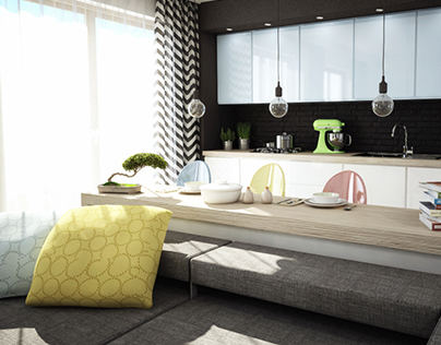 Modern white and pastel flat