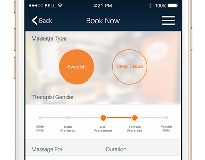 Massage Booking Design