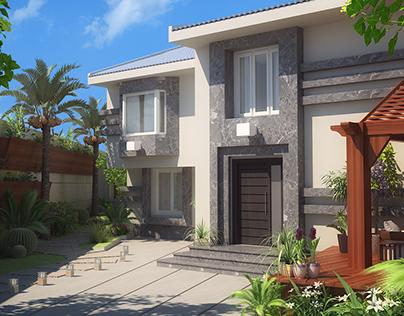 3D Visualization of a Villa Exterior