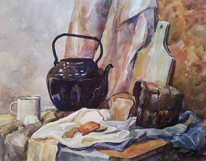 Still life etudes. Paintings and Graphics