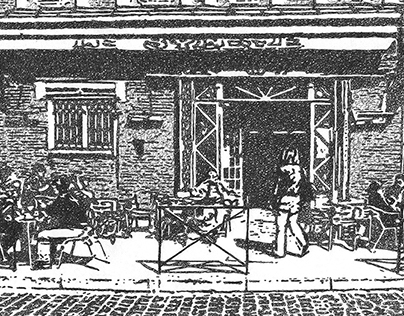 Ink Drawing : French street cafe