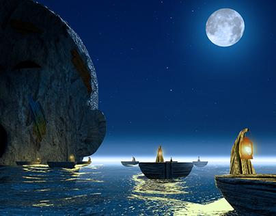 Full moon ocean