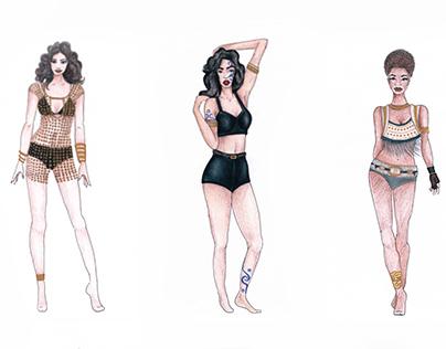 Bocetos de vestuario / Sketches of costumes