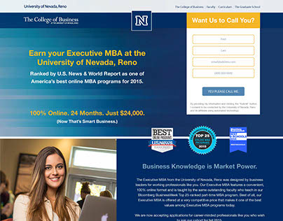 UNR - College of Business, EMBA Landing Page Design