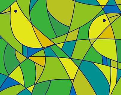 小鸟音响外套图案设计