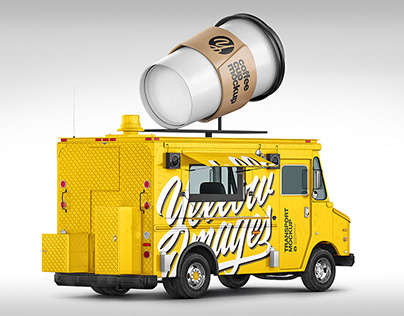 Foodtruck with Coffee Cup Mockup