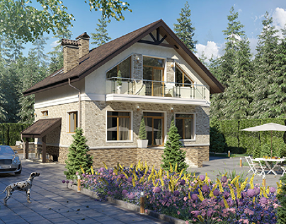 3d render cottage in Kiyv 2