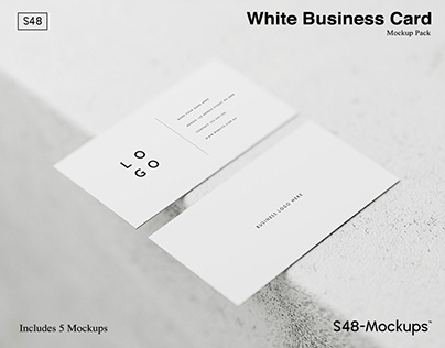 White Business Card Photoshop Mockup Pack