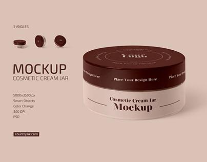 Matte Cosmetic Cream Jar Mockup Set
