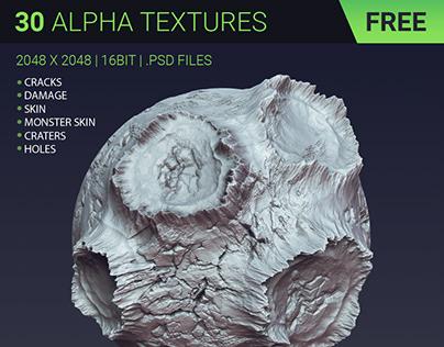 FREE - 30 alpha textures   Cracks, Damage, Monster Skin
