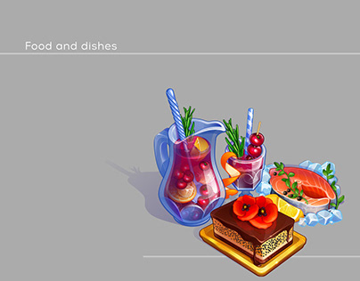 Food and dishes. Casual game graphics.