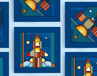 Voyage dans l'espace - Illustration jeunesse