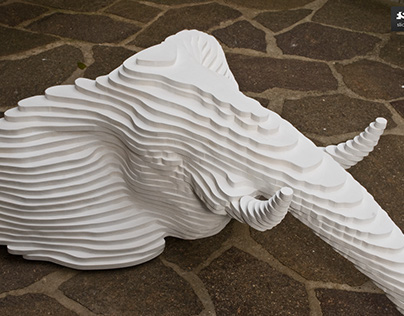 Elephant head, plywood, pure white