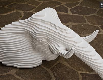Elephant head, plywood, pure white