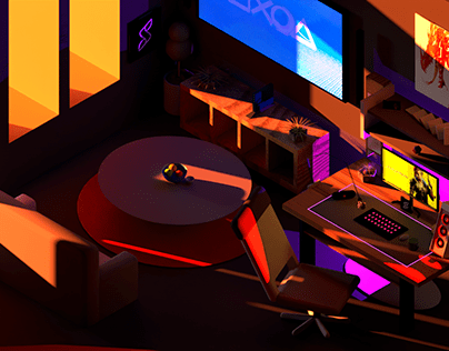 Low Poly Gaming Room