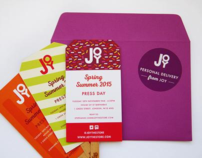 JOY SS15 Press Day Invitation Design