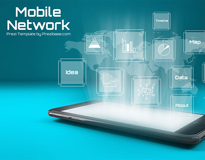 Mobile Network 3D iPhone Hologram Prezi Template