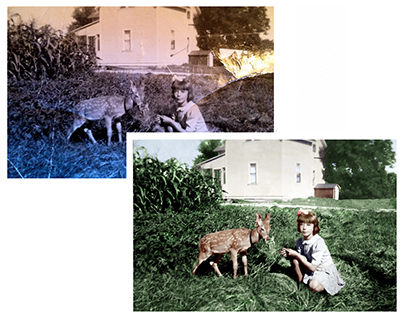 Restoration and colorisation of a photograph (c 1940)