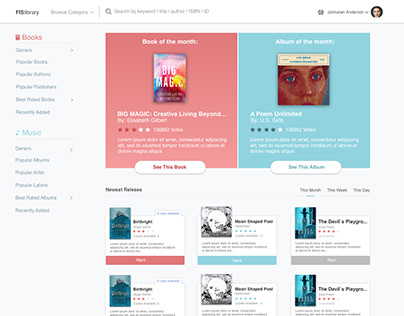 UX work for search engine for eLibrary