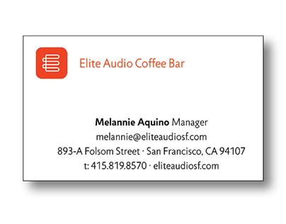 Elite Audio Coffee Bar Business Card